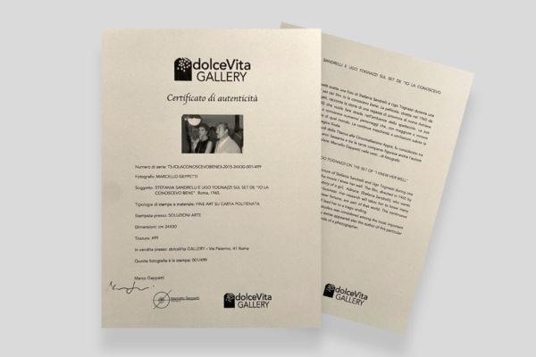 Certificato Sandrelli Tognazzi