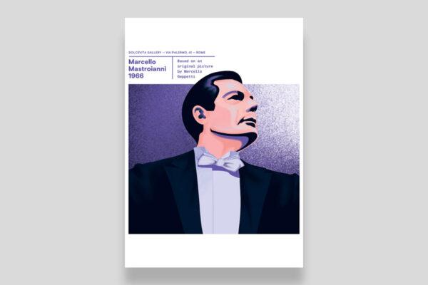 Poster Marcello Mastroianni foto Marcello Geppetti