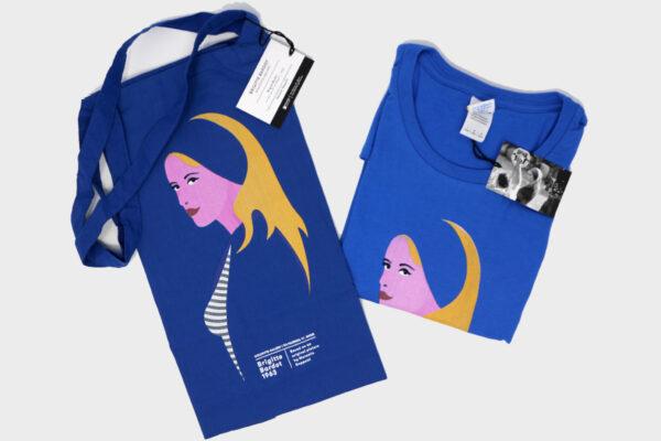 Maglia e shopper Brigitte Bardot illustrazione ispirata a foto di Marcello Geppetti